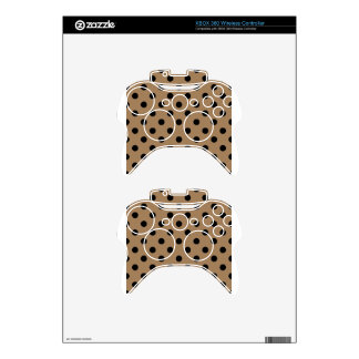 Polka Dots Large - Black on Pale Brown Xbox 360 Controller Skins