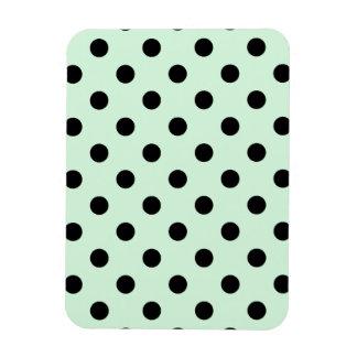 Polka Dots Large - Black on Pastel Green Rectangular Photo Magnet