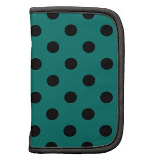 Polka Dots Large - Black on Pine Green Planners