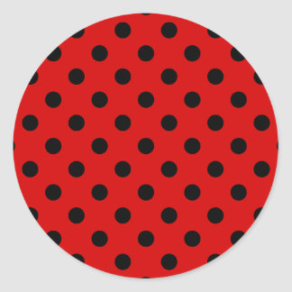 Polka Dots Large - Black on Rosso Corsa Sticker