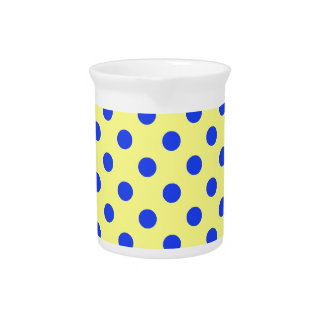 Polka Dots Large - Blue on Yellow Beverage Pitcher