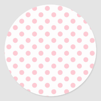 Polka Dots Large - Bubble Gum on White Classic Round Sticker