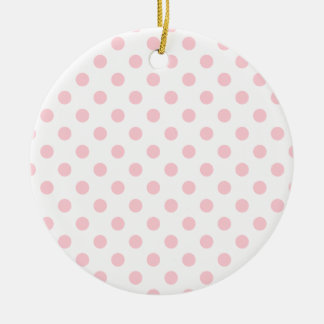 Polka Dots Large - Bubble Gum on White Double-Sided Ceramic Round Christmas Ornament