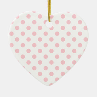 Polka Dots Large - Bubble Gum on White Double-Sided Heart Ceramic Christmas Ornament