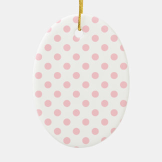 Polka Dots Large - Bubble Gum on White Double-Sided Oval Ceramic Christmas Ornament