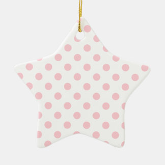 Polka Dots Large - Bubble Gum on White Double-Sided Star Ceramic Christmas Ornament