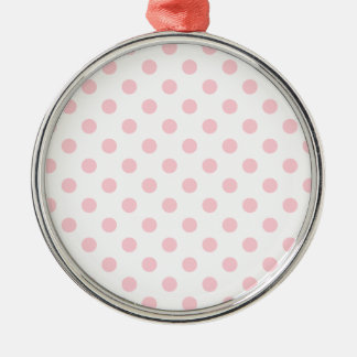 Polka Dots Large - Bubble Gum on White Round Metal Christmas Ornament