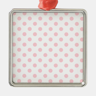Polka Dots Large - Bubble Gum on White Square Metal Christmas Ornament