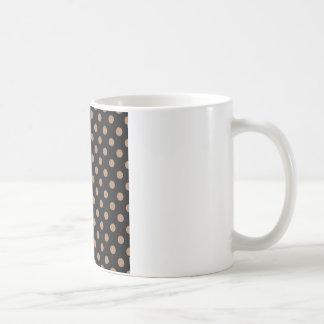 Polka Dots Large - Cafe au Lait on Black Coffee Mug