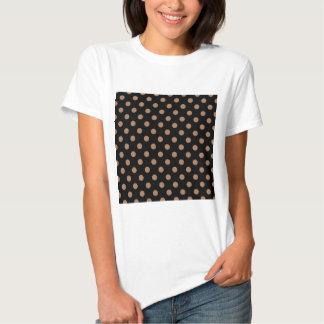 Polka Dots Large - Cafe au Lait on Black T-Shirt