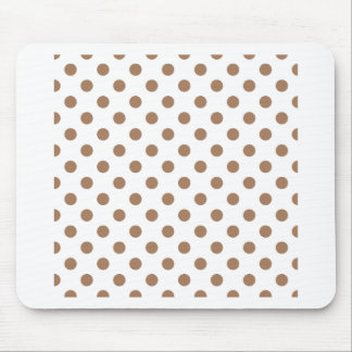Polka Dots Large - Cafe au Lait on White Mousepads