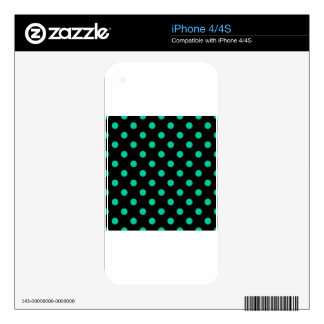 Polka Dots Large - Caribbean Green on Black Decal For iPhone 4