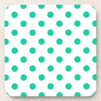 Polka Dots Large - Caribbean Green on White Beverage Coasters