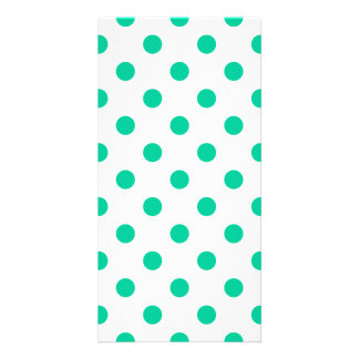 Polka Dots Large - Caribbean Green on White Photo Card