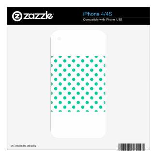 Polka Dots Large - Caribbean Green on White iPhone 4S Skin