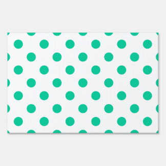 Polka Dots Large - Caribbean Green on White Yard Signs