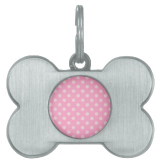 Polka Dots Large - Carnation Pink on Pale Pink Pet ID Tag