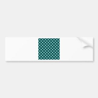 Polka Dots Large - Celeste on Deep Jungle Green Car Bumper Sticker