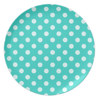 Polka Dots Large - Celeste on Turquoise Dinner Plates