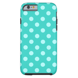 Polka Dots Large - Celeste on Turquoise Tough iPhone 6 Case