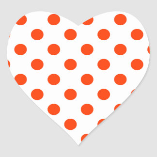 Polka Dots Large - Coquelicot on White Heart Sticker