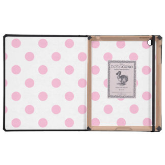 Polka Dots Large - Cotton Candy on White iPad Case