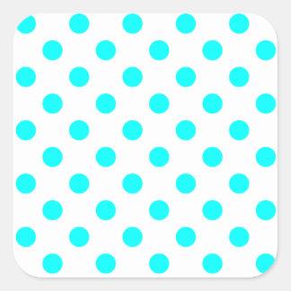 Polka Dots Large - Cyan on White Square Sticker