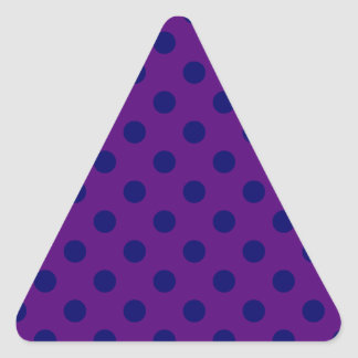 Polka Dots Large - Dark Blue on Dark Violet Triangle Sticker