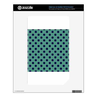 Polka Dots Large - Dark Blue on Light Green NOOK Color Skin