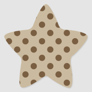 Polka Dots Large - Dark Brown on Khaki Star Sticker