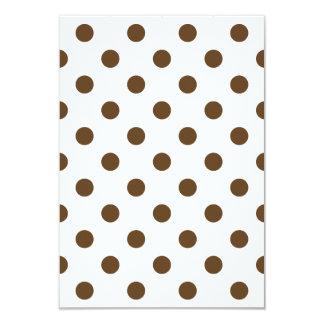 Polka Dots Large - Dark Brown on White 3.5x5 Paper Invitation Card