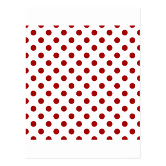 Polka Dots Large - Dark Candy Apple Red on White Postcards