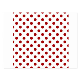 Polka Dots Large - Dark Candy Apple Red on White Postcard