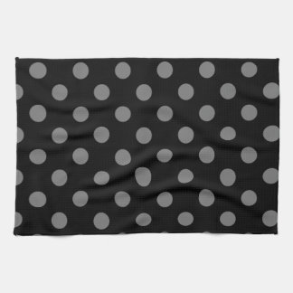 Polka Dots Large - Dark Gray on Black Hand Towel