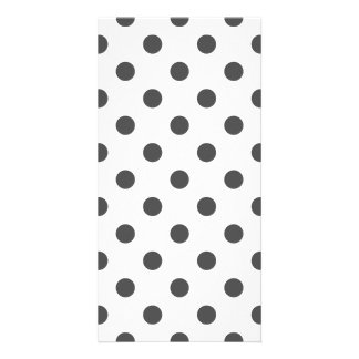 Polka Dots Large - Dark Gray on White Photo Cards