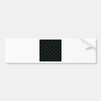 Polka Dots Large - Dark Green on Black Bumper Stickers