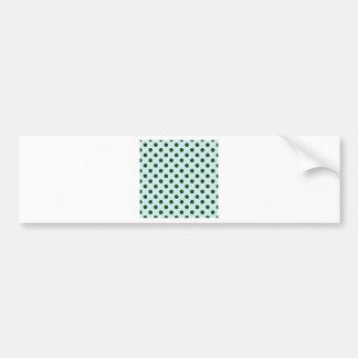 Polka Dots Large - Dark Green on Light Blue Bumper Sticker