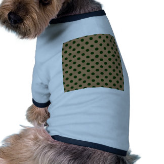 Polka Dots Large - Dark Green on Pale Brown Dog T Shirt