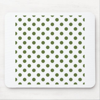 Polka Dots Large - Dark Olive Green on White Mouse Pad