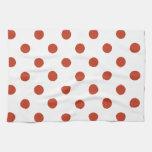 Polka Dots Large - Dark Pastel Red on White Towel