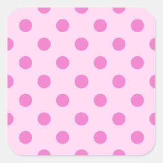 Polka Dots Large - Dark Pink on Pink Square Sticker