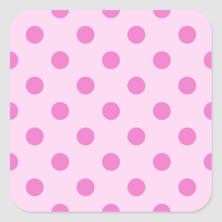 Polka Dots Large - Dark Pink on Pink Square Stickers
