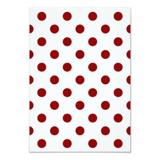 Polka Dots Large - Dark Red on White 3.5x5 Paper Invitation Card