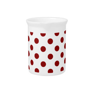 Polka Dots Large - Dark Red on White Beverage Pitcher