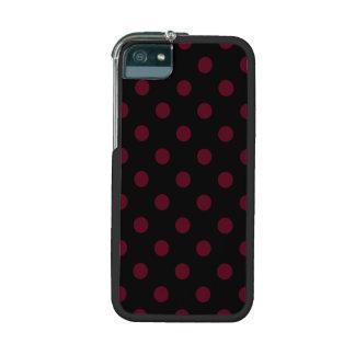 Polka Dots Large - Dark Scarlet on Black iPhone 5 Cases