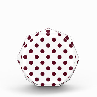 Polka Dots Large - Dark Scarlet on White Acrylic Award