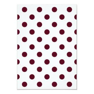 Polka Dots Large - Dark Scarlet on White 3.5x5 Paper Invitation Card