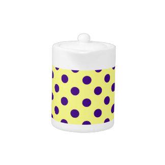 Polka Dots Large - Dark Violet on Yellow