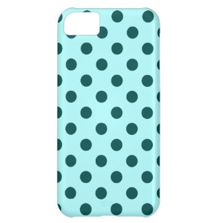 Polka Dots Large - Deep Jungle Green on Celeste iPhone 5C Case