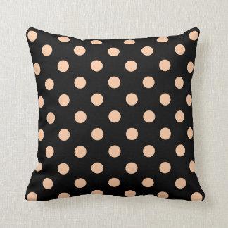 Polka Dots Large - Deep Peach on Black Throw Pillows